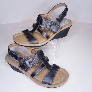 Dr. Scholl's Black Gel Cushion Sandals Wedges 7